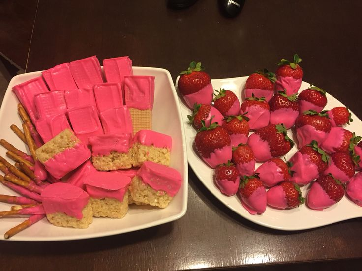 Pink chocolate treats for pink party.