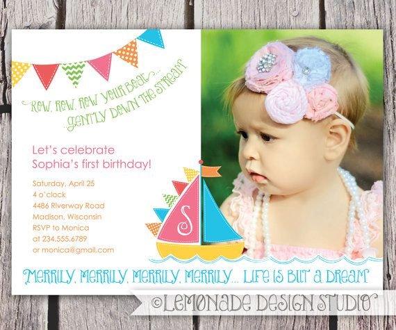 Row Row Row Your Boat Invitation - Sail boat Birthday Party - Merrily Merrily Life is but a Dream - Printable Digital File - Photo Invite