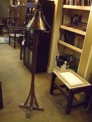 Gustav Stickley Floor Lamp With Copper Shade Stickley