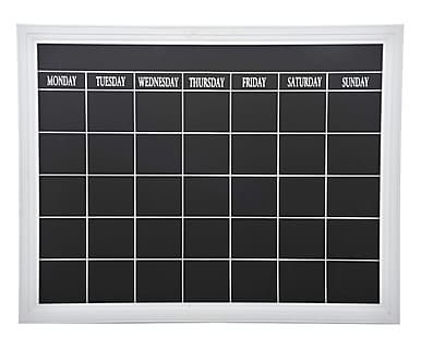 Lavagna settimanale in mdf laccato nero, 62x50x2 cm