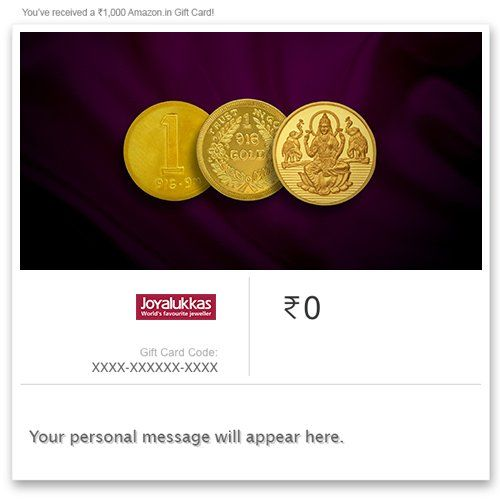 Joyalukkas Pure Gold Coin - Digital Voucher||  Joyalukkas Pure Gold Coin - Digital Voucher INR 5000.00 View Details  1 of 1 people found the following review helpful   Caution: The jeweler charges extra money for voucher redemption ...   By  Senthil - See all my reviews  Verified Purchase(What is this?)  This review is from: Joyalukkas Pure Gold Coin - Digital Voucher (Ecard Gift Certificate)  Caution:The jeweler charges extra money for voucher redemption. Might be branch specific but please…