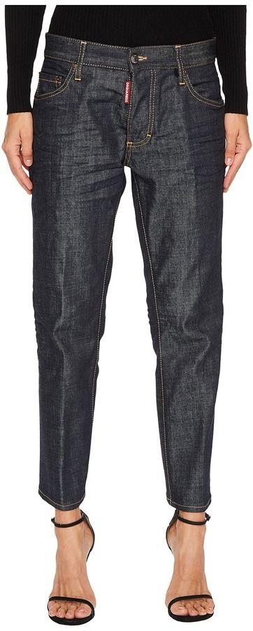 DSQUARED2 Boyfriend Dark Wash Jeans in Blue Women's Jeans