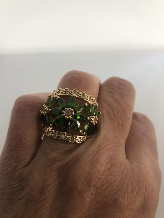 Vintage Handmade Genuine Green Chrome Diopside golden 925 Sterling Silver Ring