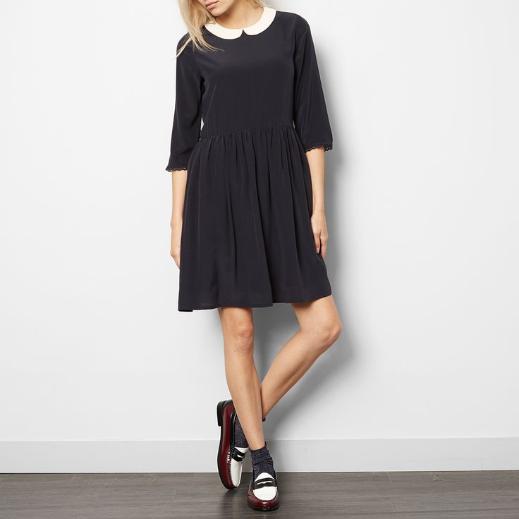 Silk Jolie Dress with Peter Pan Collar-product