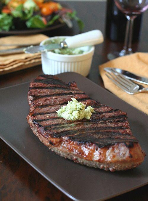Grilled Steak with Garlic Cilantro Butter