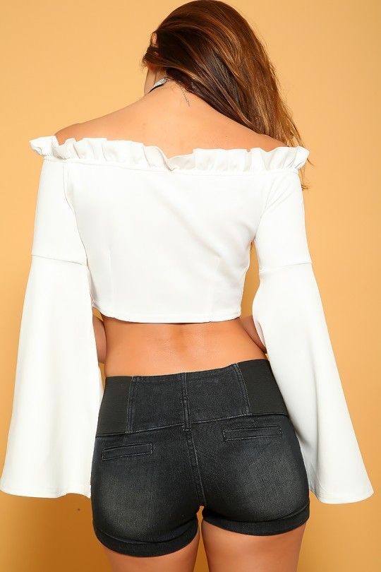 03113dd512c Sexy White Off The Shoulder Long Sleeve Dressy Crop Top