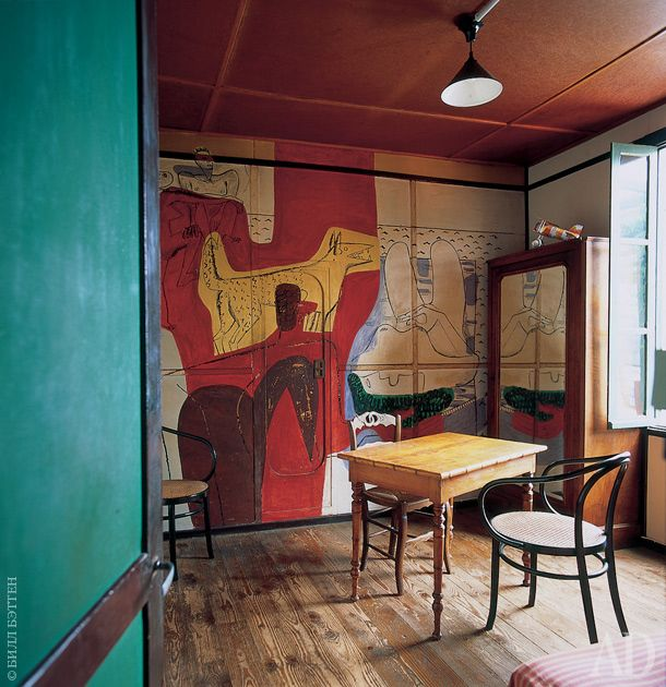 Eileen Gray's house in south of France E1027, with murals done by Le Corbusier, which she vehemently disapproved of.