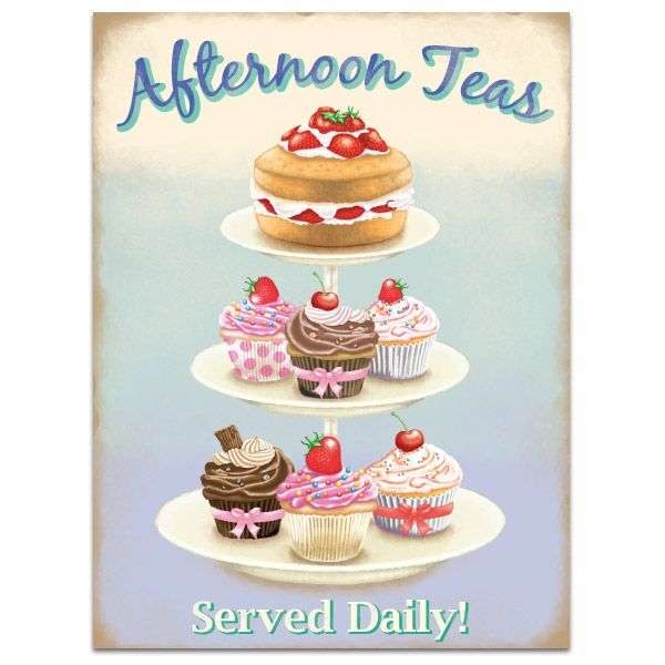 Have a pause in the midafternoon and enjoy a spot of afternoon tea - complete with cupcakes! This Afternoon Teas Tin Sign adds a retro British look to your kitchen. Made of steel, this sign measures 12W x 16H inches.