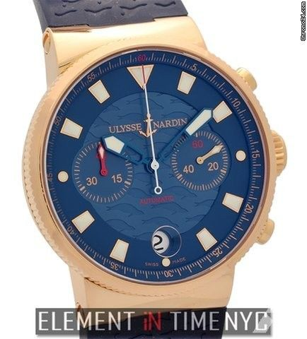 Ulysse Nardin Maxi Marine Blue Seal Chronograph 18k Rose Gold Limited Edition Ref. 356-68LE-3 Price On Request