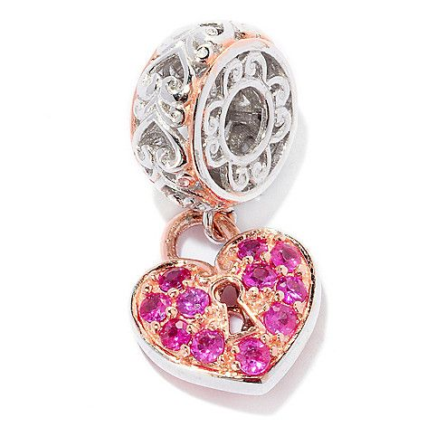 154-569 - Gems en Vogue Pink Sapphire Heart Lock Drop Charm
