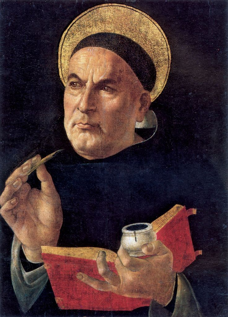 St. Thomas Aquinas (1481-1482). (Attributed to) SandroBotticelli (Italian, Renaissance, 1445-1510). The thought of Thomas Aquinas, especially as it bears upon human action, leads one to make difficult choices. Aquinas insists that a lie—even to save the life of another—is always a sin. He also insists that one ought not ever by means of a direct act to take the life an innocent human being.