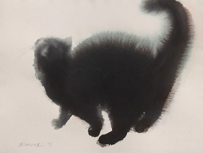 Paintings of cats in black watercolour e