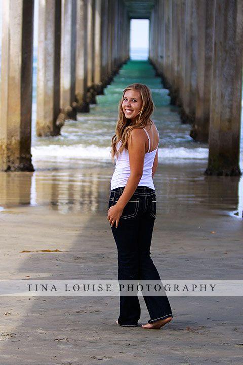 Girl Senior Portrait Beach La Jolla Pier - Tina Louise Photography