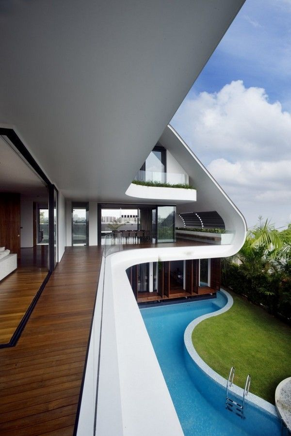 Wrap around outdoor pool on side of house
