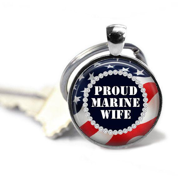 Army  Navy  Marine  Airforce Wife Keychain  U.S. by AGiftToLove
