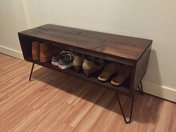 Retro Rustic Midcentury Entryway Shoe Rack Bench on hairpin