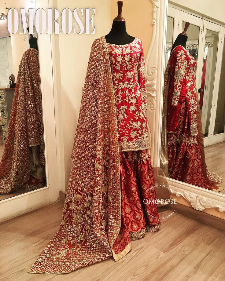 This wedding season the brides are swooning over our Traditional Red Omorose Bridal #omorosebridals #omorose #weddingseason #redandgold #traditional #red #bridals #shadiseason #redisback #elegance