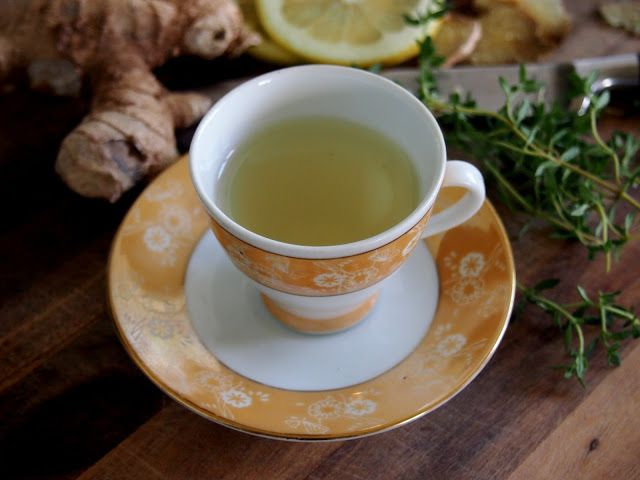 ginger, lemon and thyme tonic. Keep colds at bay.
