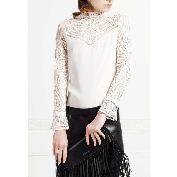 Silk Embroidered Top: Regence | Anne Fontaine (1,285 CAD) ❤ liked on Polyvore featuring tops, blouses, white embroidered blouse, embroidered top, silk top, embroidered blouse and anne fontaine blouses