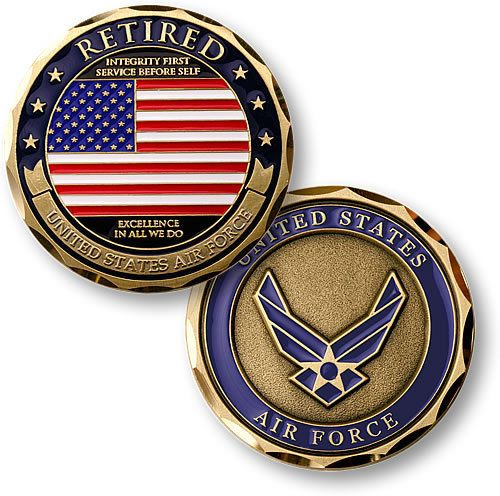 U s Air Force Retired Flag USAF Brass Challenge Coin | eBay