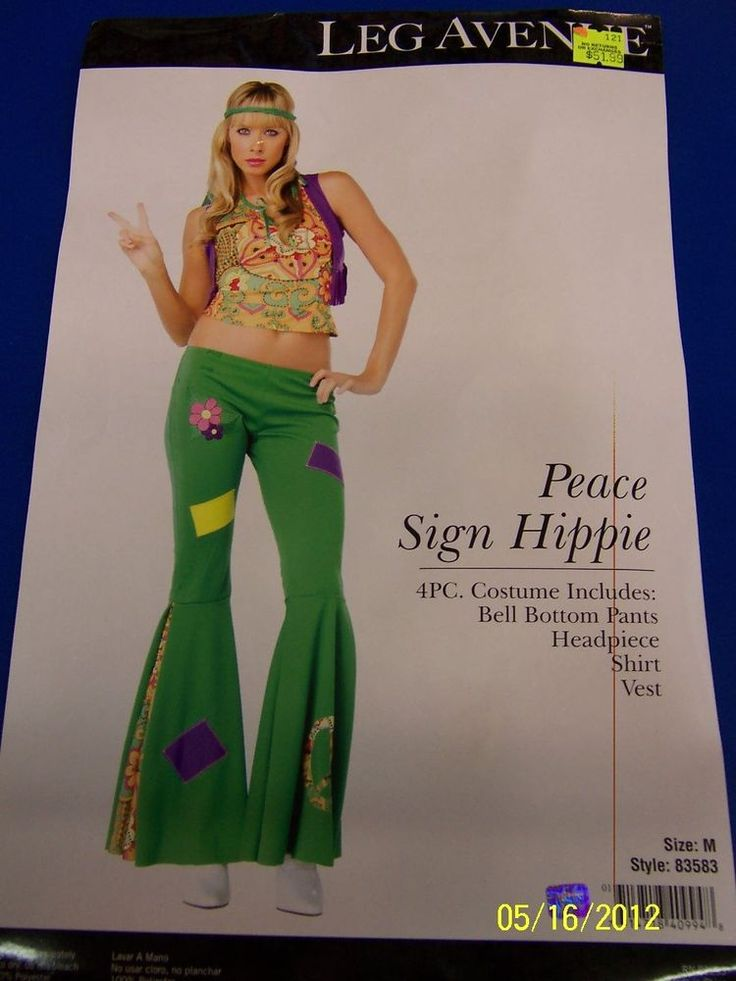 4 pc. Peace Sign Hippie 60s Flower Child Dress Up Halloween Sexy Adult Costume #LegAvenue #CompleteCostume