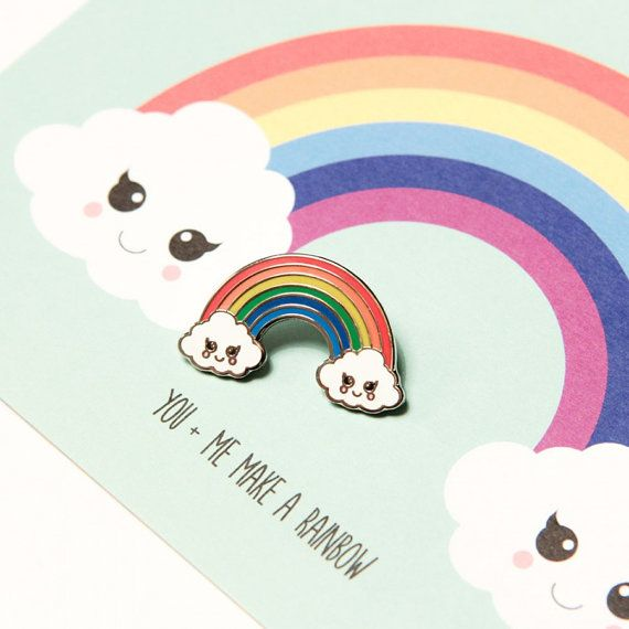 Rainbow cloud hard enamel Kawaii pin by StudioInktvis on Etsy