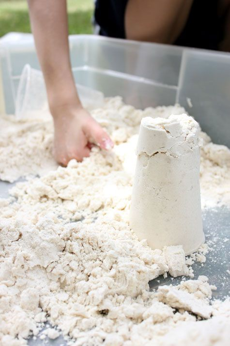 Moonsand = 8 cups flour + 1 cup baby oil.... I make this for the kids all the time and they love it!