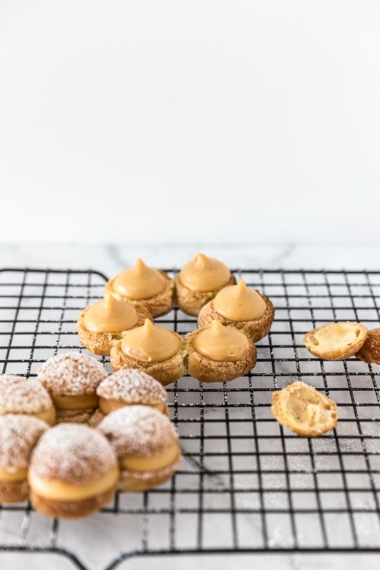 paris-brest light pastry balls with a crunchy top filled with caramel custard
