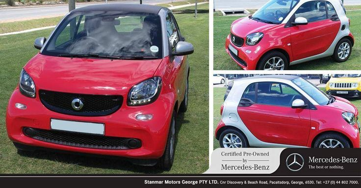 Drive the #SmartForTwo 0.9 Passion, red, with 3800km for only R 179,900. Contact #TeamCPO on 044 802 7000. E&OE.