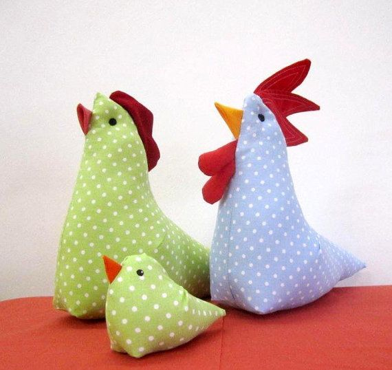 Hen and Rooster and chick, crib toy, nursery toy, bedtime toy $35