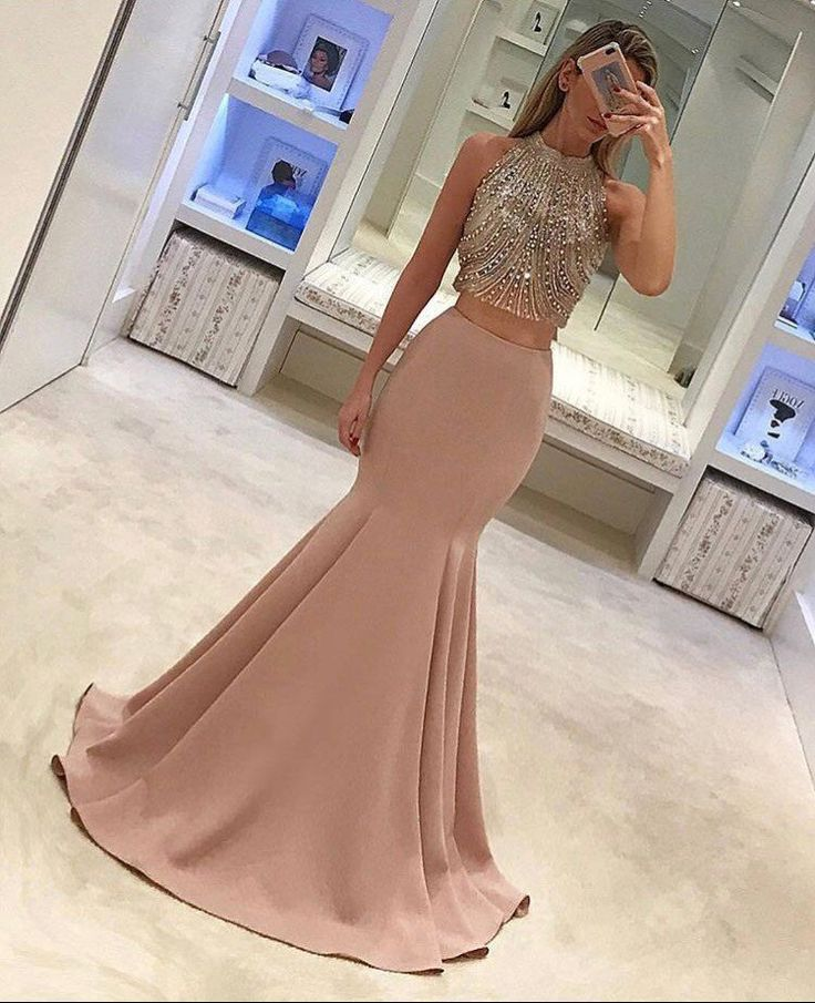 Cute two pieces sequin long prom dress, unique evening dress for teens