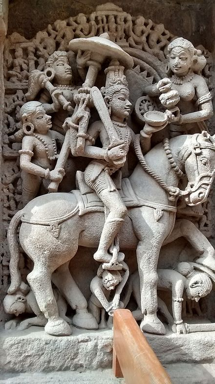 Kalki (Devanagari: कल्कि; lit. destroyer of filth) is the nemesis of demon Kali and the tenth avatar of Vishnu, foretold to appear at the end of Kali Yuga, the current epoch. The Purana scriptures foretell that Kalki will be atop a white horse with a drawn blazing sword. He is the harbinger of the end time in Hindu eschatology, after which he will usher in Satya Yuga.