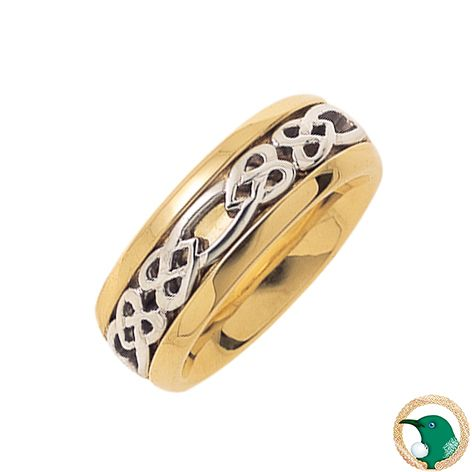 Our Ladies Hearts Celtic ring in 18ct yellow and white gold