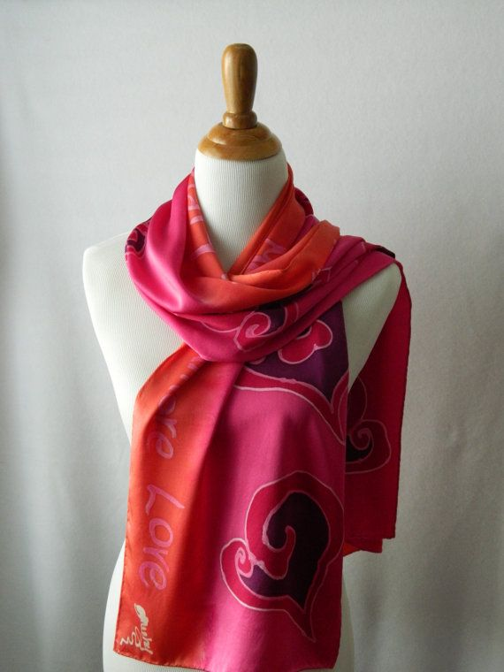 LOVE 14 X 72 one of a kind hand painted silk scarf by PaintBucket, $41.49