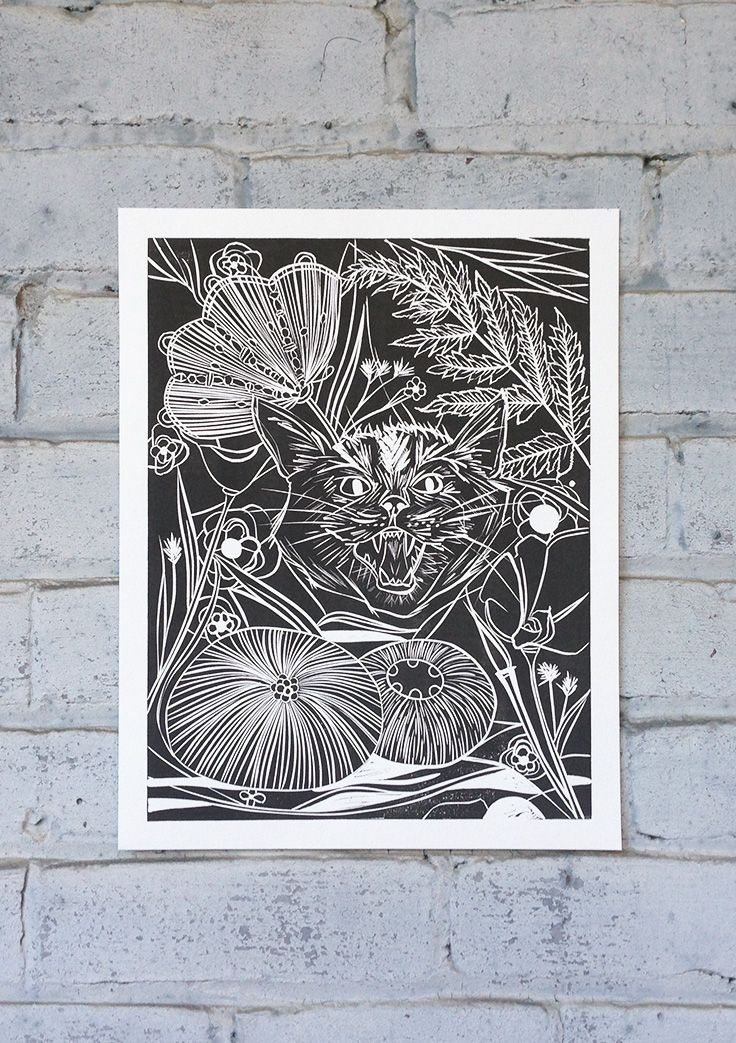 Set Forth Studio – Wildcat Linocut Print, $45 // This jungle kitty art print will look gorgeous on your wall, and makes a great gift. Buy it now in the shop!