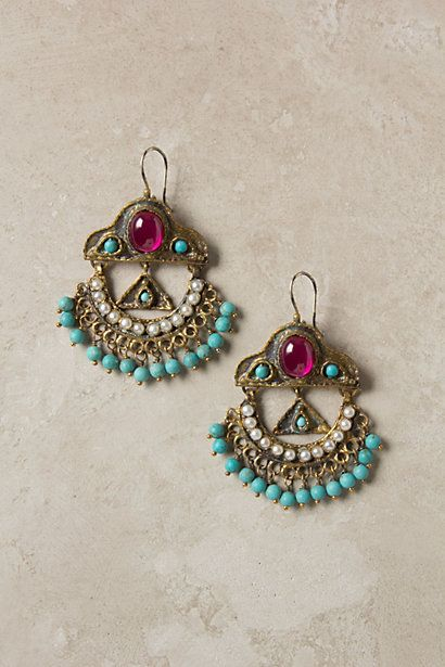Beautiful Colors!: Beautiful Earrings, Anthropology With, Turquoi Earrings, Jewelry Accessories, Komnen Chand, Chandeliers Earrings, Chand Earrings, Anthropologie Com, Chand Anthropology