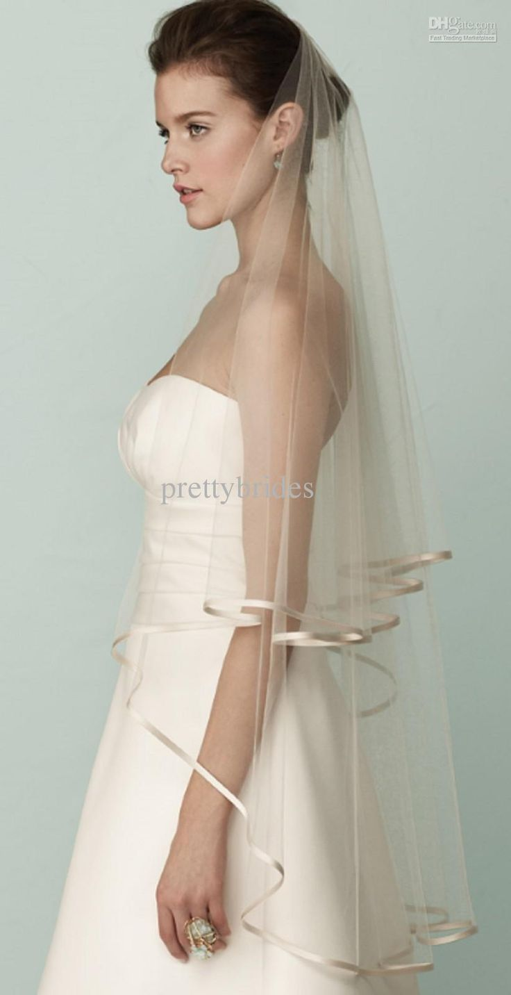 Hot 2T Edged Ivory Wedding Veil Simple Soft Tulle Net Bridal Veils Best Price RL9431