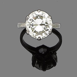 The brilliant-cut diamond within a six-claw setting, diamond approx. 4.30ct, ring size H from Bonhams Inventory of Images.