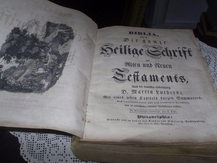ANTIQUE GERMAN BIBLE BIBLIA 1840'S PLENTY OF NAMES DATES HEILIGE SCHRIFT LARGE