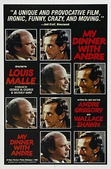 """This is the theatrical release poster for the 1981 film """"My Dinner with Andre."""""""