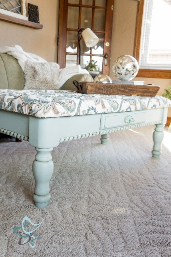 Diy-Tufted-Ottoman-Coffee Table-repurposed-furniture-painted -bench