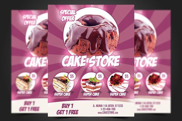 Cake Store Flyer Template by meisuseno on @creativemarket