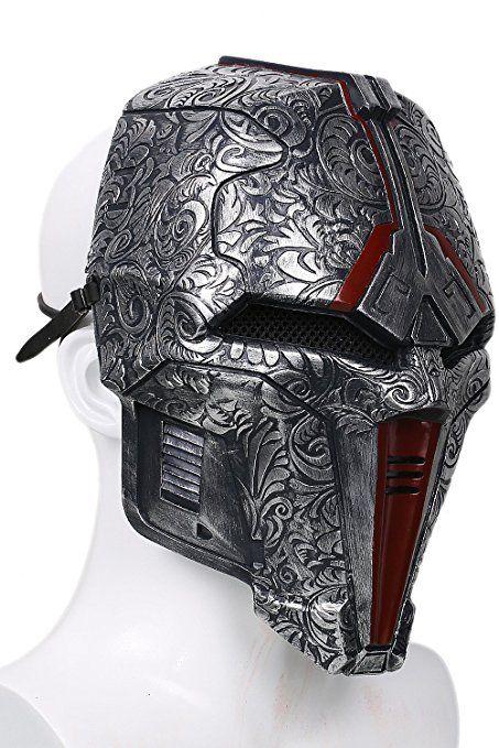 Halloween Maske Cosplay Herren Erwachsene Einstellbare Dunkelgraue Harz Gesicht Helm Kostüm Prop Neue Version: Amazon.de: Bekleidung