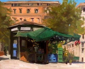 "The Flower Stand, Piazza Vittorio    6x8""  Oil on Panel  © Kelly Medford, 2012  SOLD"