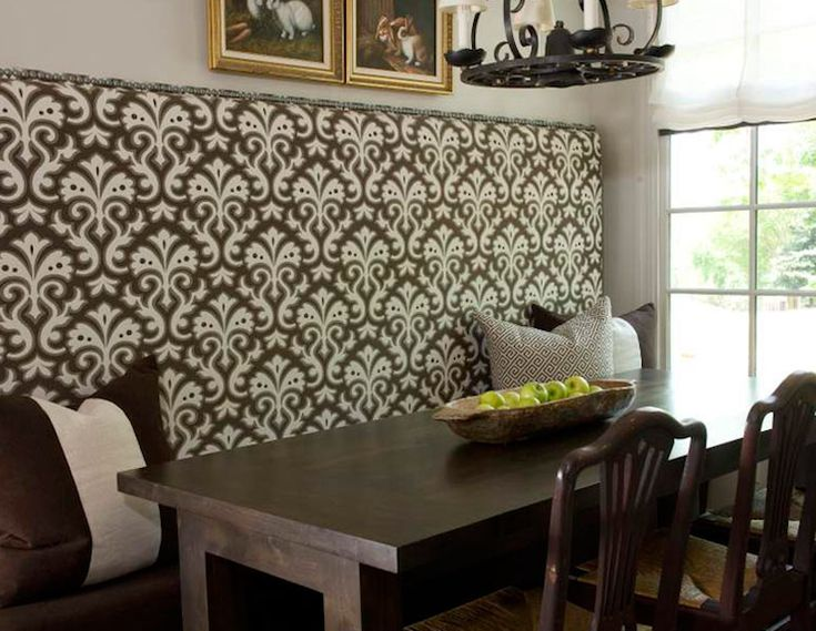 Chocolate brown eat in kitchen banquette design with ivory - Built in kitchen banquette designs ...