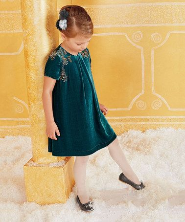 Another great find on #zulily! Teal Beaded Velvet Dress - Girls by chasing fireflies #zulilyfinds