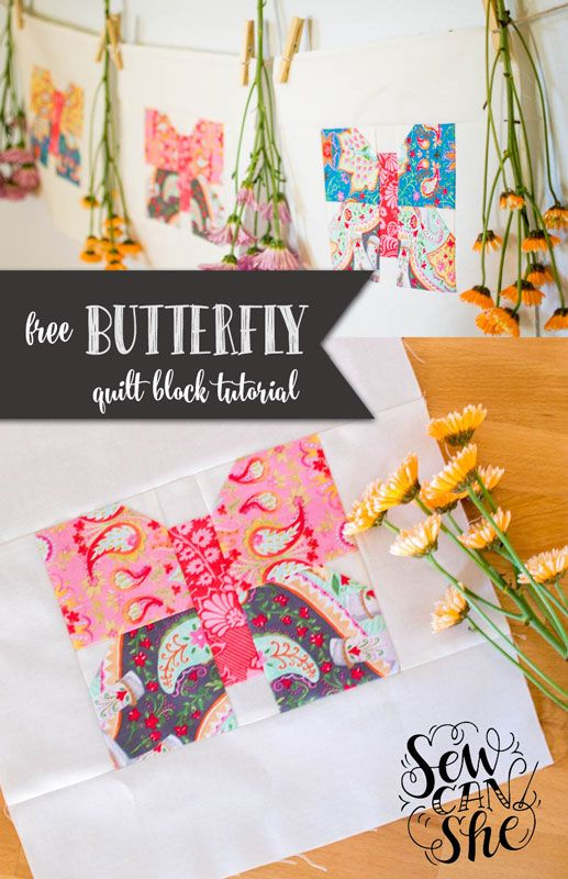 Classic Blocks: Fresh Fabric... a Butterfly Quilt Block Tutorial — SewCanShe…