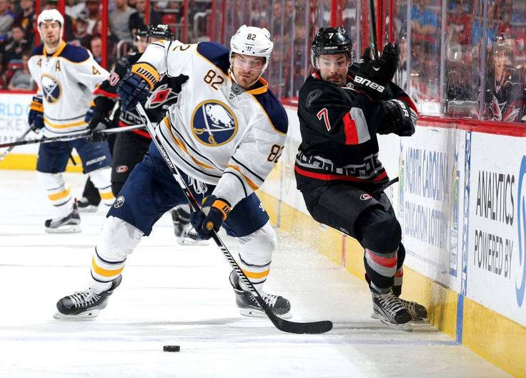 Going shoulder-to-shoulder:   Ryan Murphy, right, of the Carolina Hurricanes defends Marcus Foligno of the Buffalo Sabres during an NHL game at PNC Arena March 22 in Raleigh, N.C. The Sabres won 3-2.  -      © Gregg Forwerck/NHLI/Getty Images