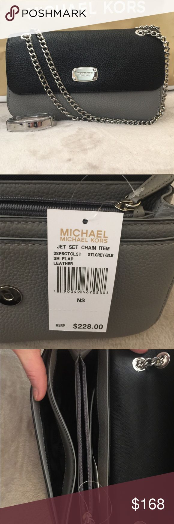 Michael Kors SM Jet Set Bag 🚨Price Reduced 🚨 This authentic Michael Kors bag is grey and black w/ silver hardware. This bag is versatile! It can compliment that little back dress with strappy heels or can be paired with jeans and boots! Either way, lookin good! Michael Kors Bags Mini Bags