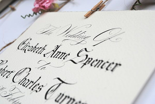 Personalised wedding sign from Calligraphy-for-Weddings.com